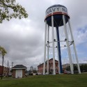 The water tower adjacent to NOMMA's new campus