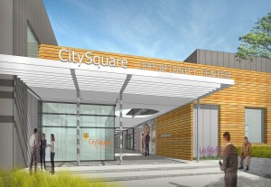 An artist rendering of the main entrance to the Opportunity Center
