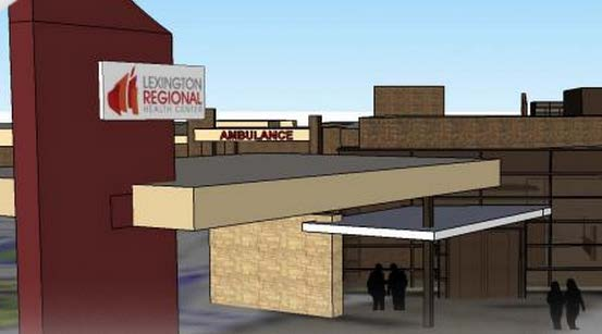 An artist's rendering of the new emergency entrance to the Lexington Regional Health Center.