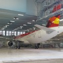 An Airbus plane sits in MAAS' Maastricht paint bay ready for a fresh coat of paint.