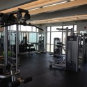 The weight room, within the new construction portion of the center