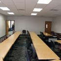 The pre-renovation space's classroom interiors were strictly utilitarian in execution