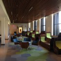 The third-floor lounge/student commons is a design highlight